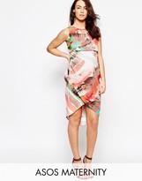 Asos Drape Front Midi Dress In Abstract Stripe Print