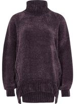 River Island Womens Purple chenille knit oversized roll neck jump