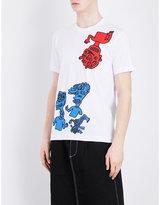 Comme Des Garcons Shirt Cartoon-print Cotton-jersey T-shirt
