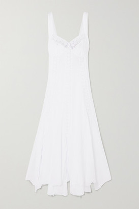 Charo Ruiz Ibiza Heart Crocheted Lace-paneled Cotton-blend Voile Dress - White