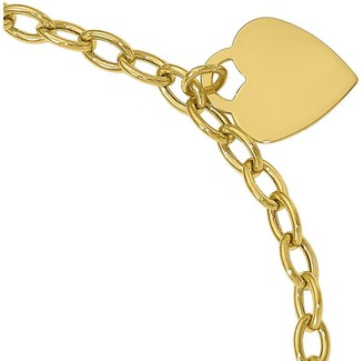 14K Gold Curb Link Heart Dangle Bracelet, 2.3g