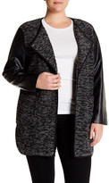 Live A Little Faux Leather Boucle Knit Jacket (Plus Size)
