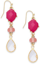 INC International Concepts Gold-Tone Pink & Clear Stone Drop Earrings, Created for Macy's