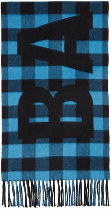 Balenciaga Blue and Black Checked Logo Oversize Scarf
