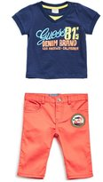 GUESS Short-Sleeve Logo Tee and Pants Set (0-24M)