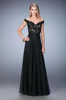 La Femme 22737 Floral Lace V-neck A-line Dress