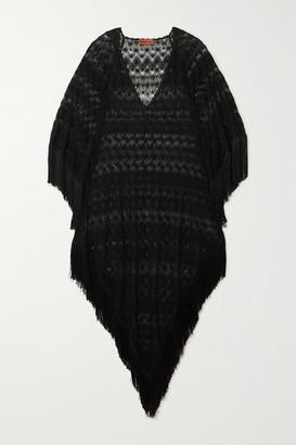 Missoni Fringed Metallic Crochet-knit Kaftan - Black