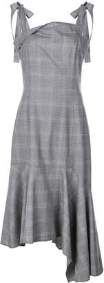 ADEAM check asymmetric midi dress