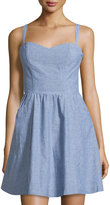 Joie Yomi Chambray Sleeveless Fit-&-Flare Dress, Light Wash Indigo