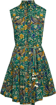Zimmermann Edie Belted Printed Cotton-voile Mini Dress