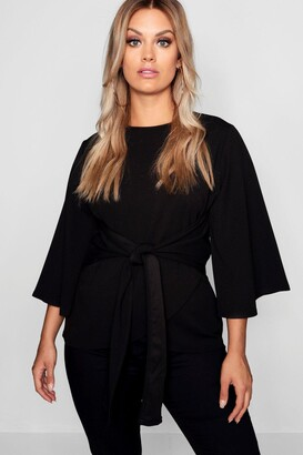 boohoo Plus Kimono Sleeve Tie Waist Top