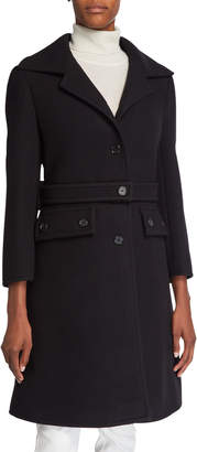 Chloé Brushed Wool Button-Belt Coat
