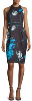 Carmen Marc Valvo Sleeveless Floral Cocktail Dress, Black/Turquoise
