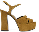 Saint Laurent Candy Suede Platform Sandals - Tan