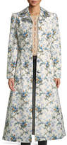 Brock Collection Colette Rose-Print Belted Chine Taffeta Corseted Coat
