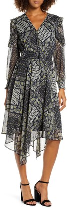 Sam Edelman Patchwork Print Ruffled Handkerchief Hem Midi Dress
