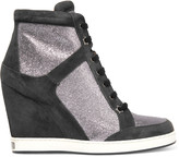 Jimmy Choo Glittered leather and suede wedge sneakers