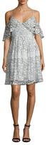 Nicholas Floral Lace Basque Flared Dress