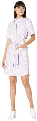 Adam Lippes Belted Shirtdress (Palm/Lilac/Cream) Women's Dress