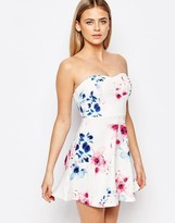 Ariana Grande for Lipsy Floral Print Bandeau Prom Dress