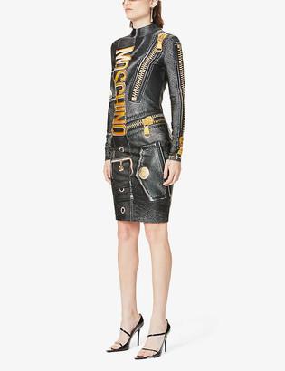 Moschino Leather jacket-print stretch-jersey mini dress