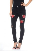 AX Paris Black Embroided Jeans