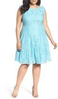 Gabby Skye Plus Size Women's Lace Fit & Flare Dress