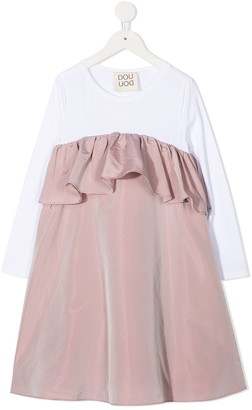 Douuod Kids Ruffle Colour-Block Dress