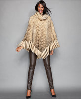 The Fur Vault Knitted Mink Fur Fringed Poncho