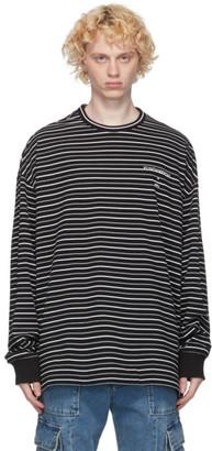 Juun.J Black Striped Long Sleeve T-Shirt