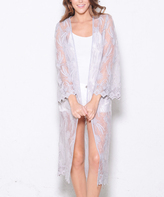 Paparazzi Heather Gray Sheer Lace Duster