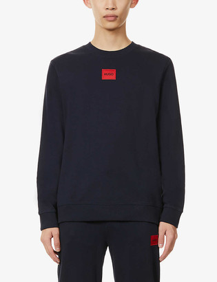 HUGO BOSS Logo-patch cotton-jersey sweatshirt