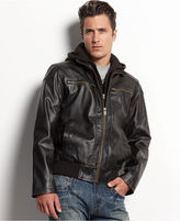 GUESS Coat, Faux-Leather Hooded Bomber Jacket