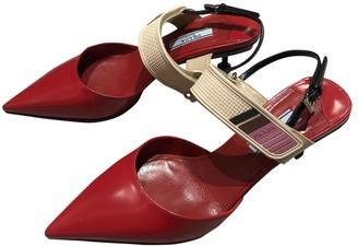 Prada Mary Jane Red Leather Heels