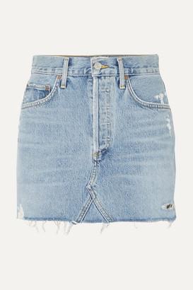 A Gold E Agolde AGOLDE - Quinn Distressed Denim Mini Skirt - Mid denim