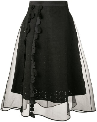 PASKAL clothes Sheer Panelled Flared Skirt