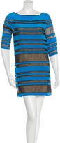 Robert Rodriguez Mesh-Paneled Silk Dress w/ Tags