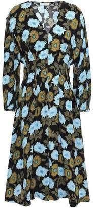 Sandro Fraternite Crystal-embellished Floral-print Crepe Dress