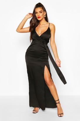 boohoo Satin Wrap Maxi Dress
