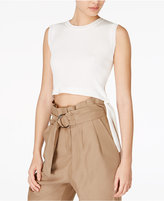 J.o.a. Ribbed Tie-Hem Crop Top