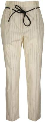 Brunello Cucinelli Stretch Cotton Pinstripe Poplin Volume Trousers With Leather Belt
