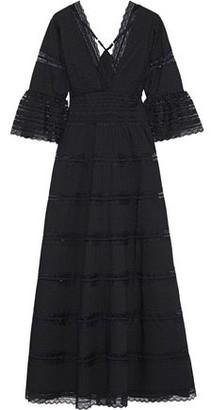 Antik Batik Mary Pintucked Lace-paneled Cotton Maxi Dress