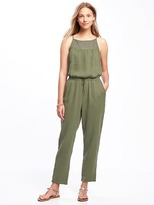 Old Navy High-Neck Crochet-Yoke Jumpsuit for Women