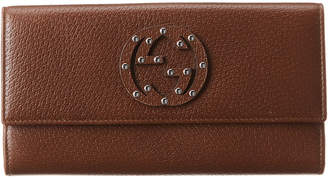 Gucci Brown Studded Leather Wallet