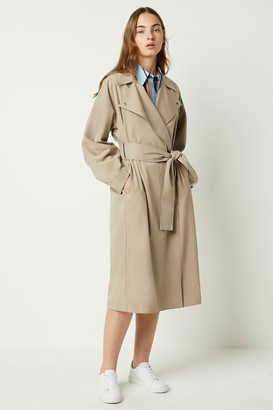French Connenction Zula Long Belted Trench Coat