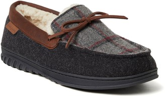 Dearfoams Men's Woven Plaid Moccasin with Tie Slippers - Ethan