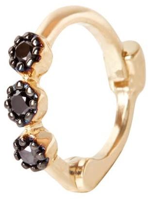 Zohreh V. Jewellery Mini Black Diamond Trilogy Huggie Hoop Earring 9K Gold