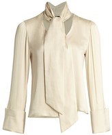 Alice + Olivia Rosina French-Cuff Tie-Neck Stretch-Silk Blouse