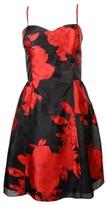 Jessica Simpson Women's Floral Print Flare Dress (8, Black/Tango Multi)