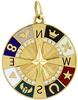 Foundrae Compass Symbol Wheel Yellow Gold Medallion